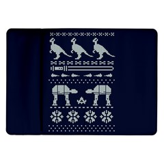 Holiday Party Attire Ugly Christmas Blue Background Samsung Galaxy Tab 10 1  P7500 Flip Case by Onesevenart