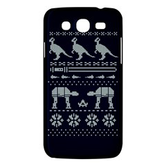 Holiday Party Attire Ugly Christmas Blue Background Samsung Galaxy Mega 5 8 I9152 Hardshell Case  by Onesevenart