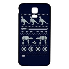 Holiday Party Attire Ugly Christmas Blue Background Samsung Galaxy S5 Back Case (white) by Onesevenart