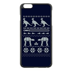 Holiday Party Attire Ugly Christmas Blue Background Apple Iphone 6 Plus/6s Plus Black Enamel Case by Onesevenart