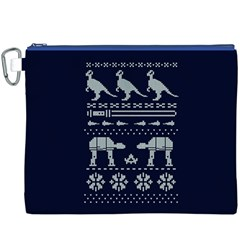 Holiday Party Attire Ugly Christmas Blue Background Canvas Cosmetic Bag (xxxl) by Onesevenart