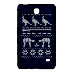 Holiday Party Attire Ugly Christmas Blue Background Samsung Galaxy Tab 4 (8 ) Hardshell Case  by Onesevenart