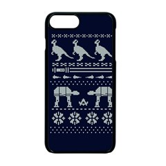 Holiday Party Attire Ugly Christmas Blue Background Apple Iphone 7 Plus Seamless Case (black) by Onesevenart
