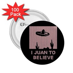 I Juan To Believe Ugly Holiday Christmas Black Background 2 25  Buttons (100 Pack)  by Onesevenart