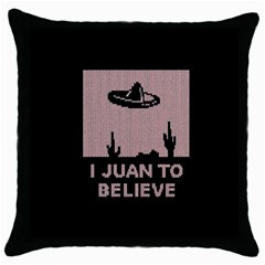 I Juan To Believe Ugly Holiday Christmas Black Background Throw Pillow Case (black) by Onesevenart