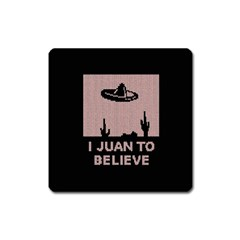 I Juan To Believe Ugly Holiday Christmas Black Background Square Magnet by Onesevenart