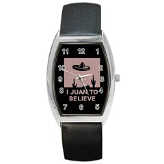 I Juan To Believe Ugly Holiday Christmas Black Background Barrel Style Metal Watch by Onesevenart