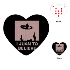 I Juan To Believe Ugly Holiday Christmas Black Background Playing Cards (heart)  by Onesevenart