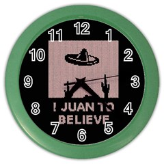 I Juan To Believe Ugly Holiday Christmas Black Background Color Wall Clocks by Onesevenart