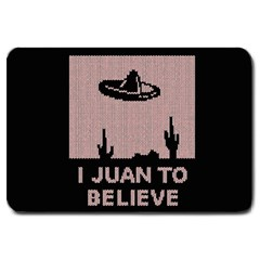 I Juan To Believe Ugly Holiday Christmas Black Background Large Doormat  by Onesevenart