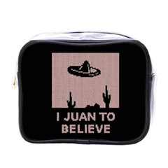 I Juan To Believe Ugly Holiday Christmas Black Background Mini Toiletries Bags by Onesevenart