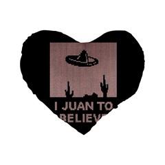 I Juan To Believe Ugly Holiday Christmas Black Background Standard 16  Premium Heart Shape Cushions