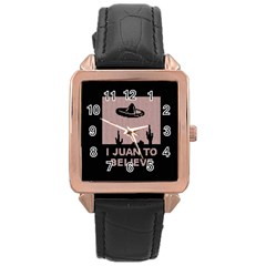 I Juan To Believe Ugly Holiday Christmas Black Background Rose Gold Leather Watch  by Onesevenart