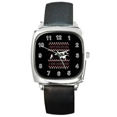 I Wasn t Good This Year, I Was Awesome! Ugly Holiday Christmas Black Background Square Metal Watch by Onesevenart