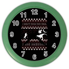 I Wasn t Good This Year, I Was Awesome! Ugly Holiday Christmas Black Background Color Wall Clocks by Onesevenart