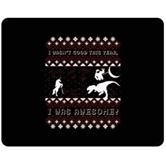 I Wasn t Good This Year, I Was Awesome! Ugly Holiday Christmas Black Background Fleece Blanket (medium)  by Onesevenart