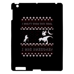 I Wasn t Good This Year, I Was Awesome! Ugly Holiday Christmas Black Background Apple Ipad 3/4 Hardshell Case by Onesevenart