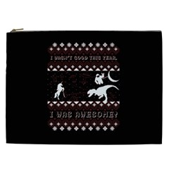 I Wasn t Good This Year, I Was Awesome! Ugly Holiday Christmas Black Background Cosmetic Bag (xxl)  by Onesevenart