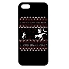 I Wasn t Good This Year, I Was Awesome! Ugly Holiday Christmas Black Background Apple Iphone 5 Seamless Case (black) by Onesevenart