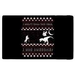 I Wasn t Good This Year, I Was Awesome! Ugly Holiday Christmas Black Background Apple Ipad 2 Flip Case by Onesevenart