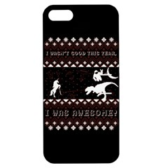 I Wasn t Good This Year, I Was Awesome! Ugly Holiday Christmas Black Background Apple Iphone 5 Hardshell Case With Stand by Onesevenart