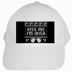 Kiss Me I m Irish Ugly Christmas Black Background White Cap by Onesevenart