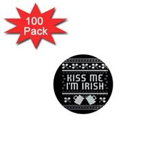 Kiss Me I m Irish Ugly Christmas Black Background 1  Mini Magnets (100 Pack)  by Onesevenart
