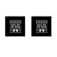 Kiss Me I m Irish Ugly Christmas Black Background Cufflinks (square) by Onesevenart