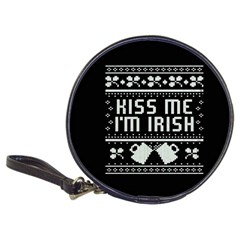 Kiss Me I m Irish Ugly Christmas Black Background Classic 20 Cd Wallets by Onesevenart