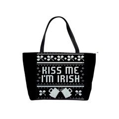 Kiss Me I m Irish Ugly Christmas Black Background Shoulder Handbags by Onesevenart