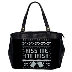 Kiss Me I m Irish Ugly Christmas Black Background Office Handbags by Onesevenart