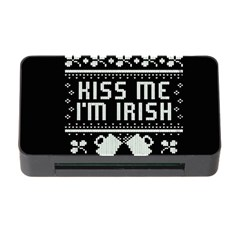 Kiss Me I m Irish Ugly Christmas Black Background Memory Card Reader With Cf by Onesevenart