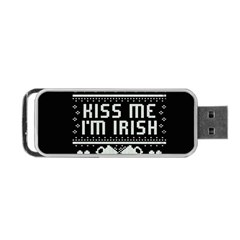 Kiss Me I m Irish Ugly Christmas Black Background Portable Usb Flash (two Sides) by Onesevenart