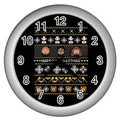 Merry Nerdmas! Ugly Christma Black Background Wall Clocks (silver)  by Onesevenart