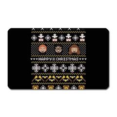 Merry Nerdmas! Ugly Christma Black Background Magnet (rectangular) by Onesevenart