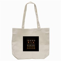 Merry Nerdmas! Ugly Christma Black Background Tote Bag (cream) by Onesevenart