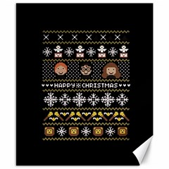 Merry Nerdmas! Ugly Christma Black Background Canvas 8  X 10  by Onesevenart
