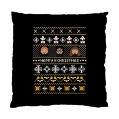 Merry Nerdmas! Ugly Christma Black Background Standard Cushion Case (two Sides) by Onesevenart
