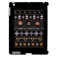 Merry Nerdmas! Ugly Christma Black Background Apple Ipad 3/4 Hardshell Case (compatible With Smart Cover) by Onesevenart