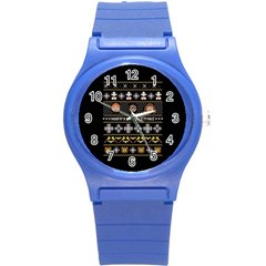 Merry Nerdmas! Ugly Christma Black Background Round Plastic Sport Watch (s) by Onesevenart