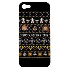 Merry Nerdmas! Ugly Christma Black Background Apple Iphone 5 Hardshell Case by Onesevenart