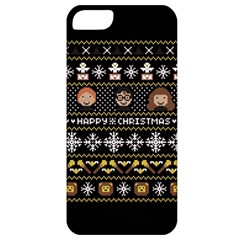 Merry Nerdmas! Ugly Christma Black Background Apple Iphone 5 Classic Hardshell Case by Onesevenart