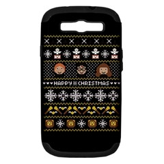 Merry Nerdmas! Ugly Christma Black Background Samsung Galaxy S Iii Hardshell Case (pc+silicone) by Onesevenart