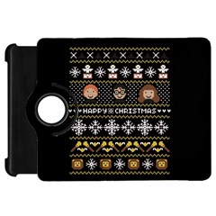 Merry Nerdmas! Ugly Christma Black Background Kindle Fire Hd 7  by Onesevenart