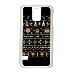 Merry Nerdmas! Ugly Christma Black Background Samsung Galaxy S5 Case (white) by Onesevenart