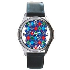 Minecraft Ugly Holiday Christmas Round Metal Watch by Onesevenart