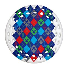 Minecraft Ugly Holiday Christmas Round Filigree Ornament (two Sides) by Onesevenart