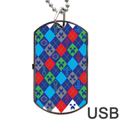 Minecraft Ugly Holiday Christmas Dog Tag USB Flash (One Side) by Onesevenart