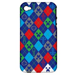 Minecraft Ugly Holiday Christmas Apple Iphone 4/4s Hardshell Case (pc+silicone) by Onesevenart