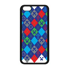 Minecraft Ugly Holiday Christmas Apple Iphone 5c Seamless Case (black) by Onesevenart